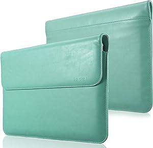 Kuzy - MacBook Pro 13 inch Sleeve Leather, 13 inch Laptop Sleeve Case for MacBook Air 13 inch Sleeve Case Cover (New Version) PU Leather Laptop Sleeve - Teal