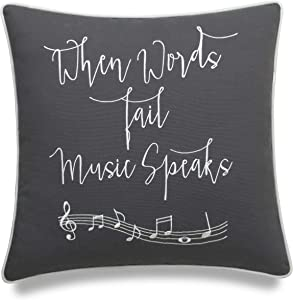 """EURASIA DECOR DecorHouzz Music Lover Embroidered Pillow Cover Gift for Music Teacher Guitar Player Piano Player Graduation Teen Wedding (18""""X18"""", When Words(Grey))"""