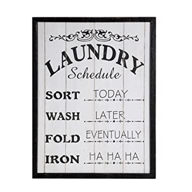 NIKKY HOME Chic Wooden Framed Wall Plaque Sign for Laundry Room