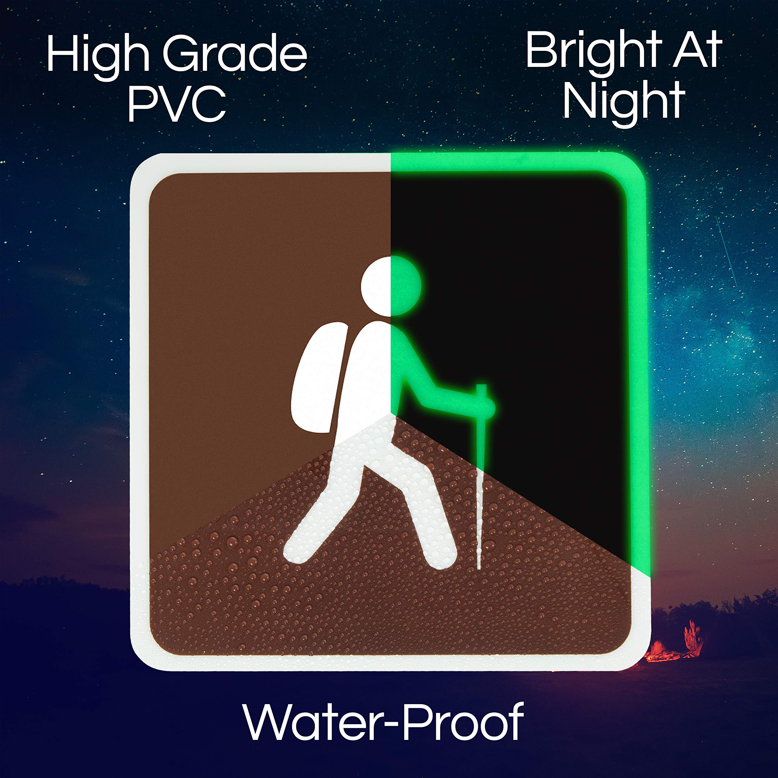 LIDERSTAR Glow in The Dark Camping Signs - Waterproof PVC for Indoors and Outdoors - Theme Parties | BBQ | Camper Gift | Decor for Kids Bedroom - with Large UV Flashlight and Adhesive Putty