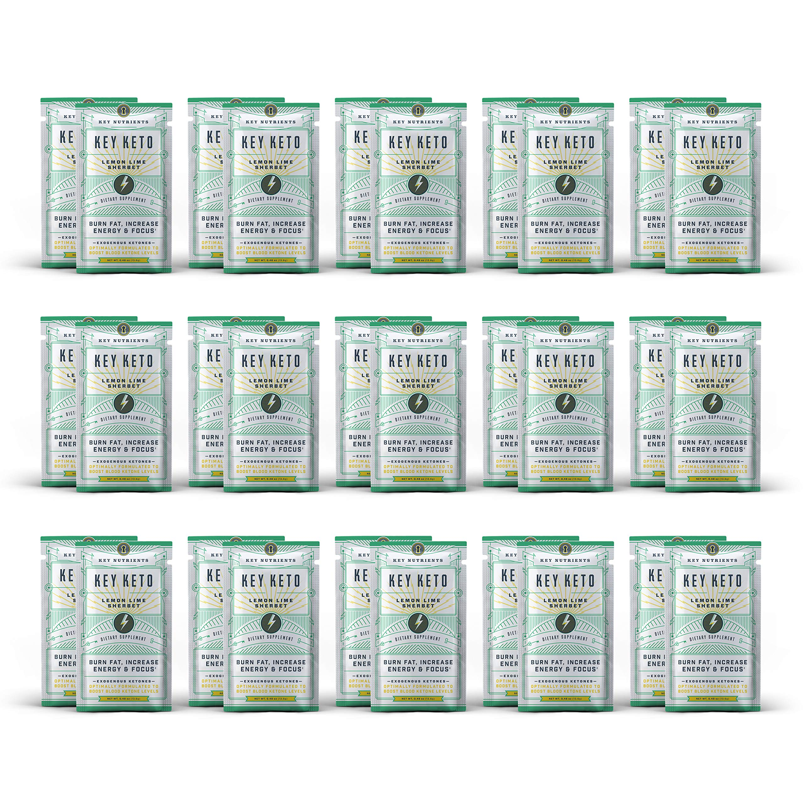 Exogenous Ketone Supplement, Key Keto: Patented BHB Salts (Beta-Hydroxybutyrate) - Formulated for Ketosis, to Burn Fat, Increase Energy and Focus, Supports a Keto Diet. 30 Keto Packets (Lemon Lime) by Key Nutrients