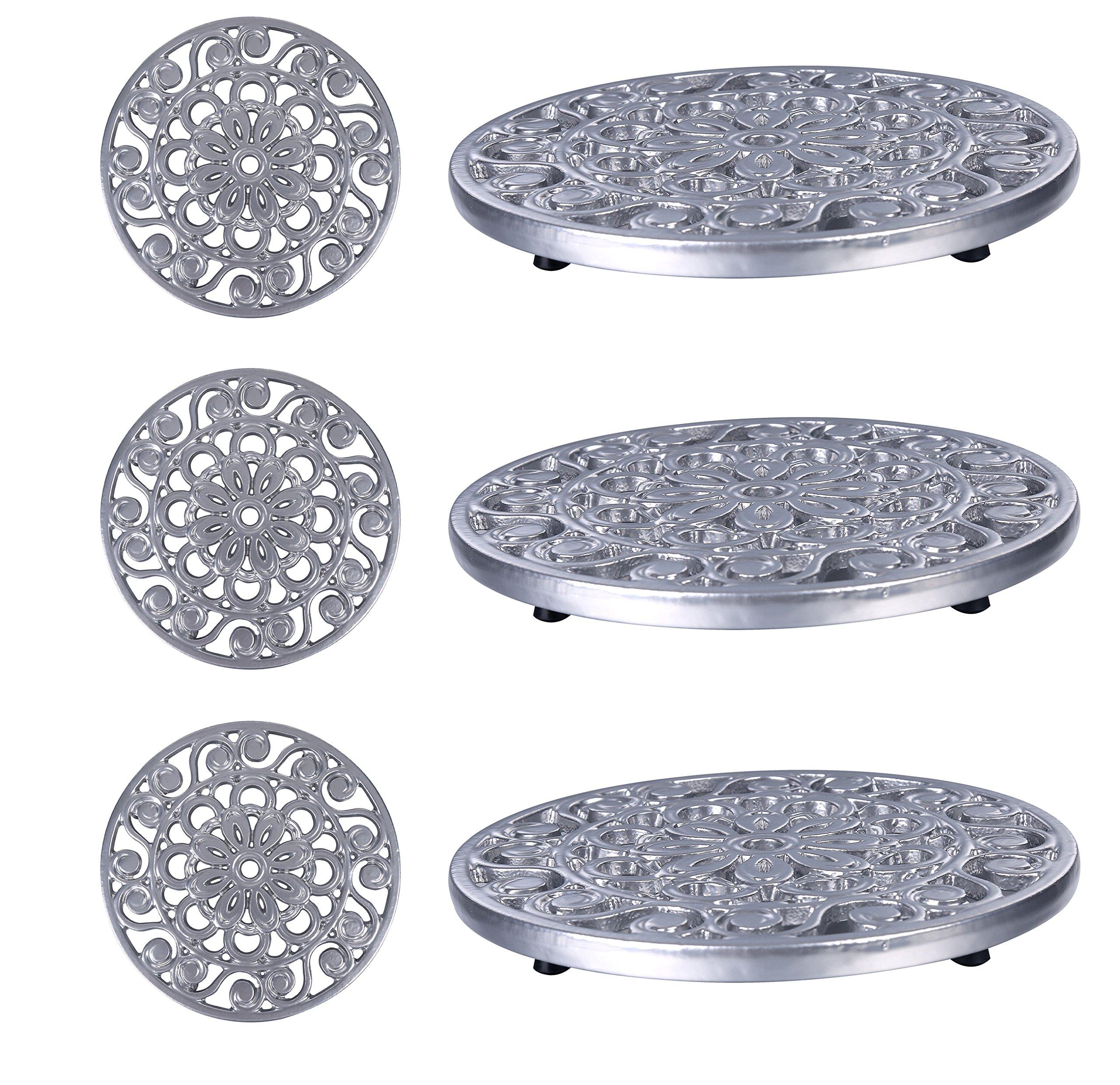 Trademark Innovations Set of 3 Decorative Cast Iron Metal Trivets - (Silver)