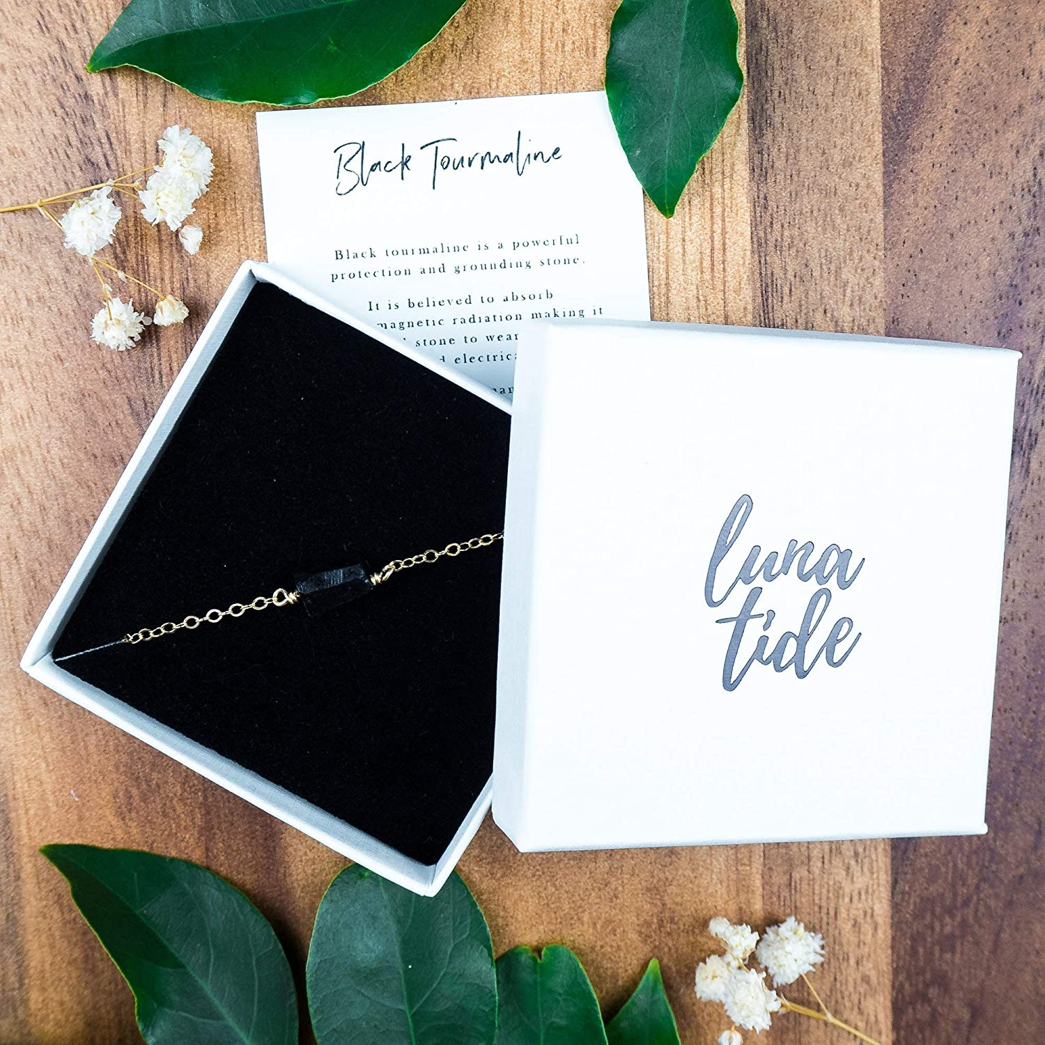 Raw black tourmaline crystal nugget anklet in 14k gold fill October birthstone 8 chain with 2 adjustable extender