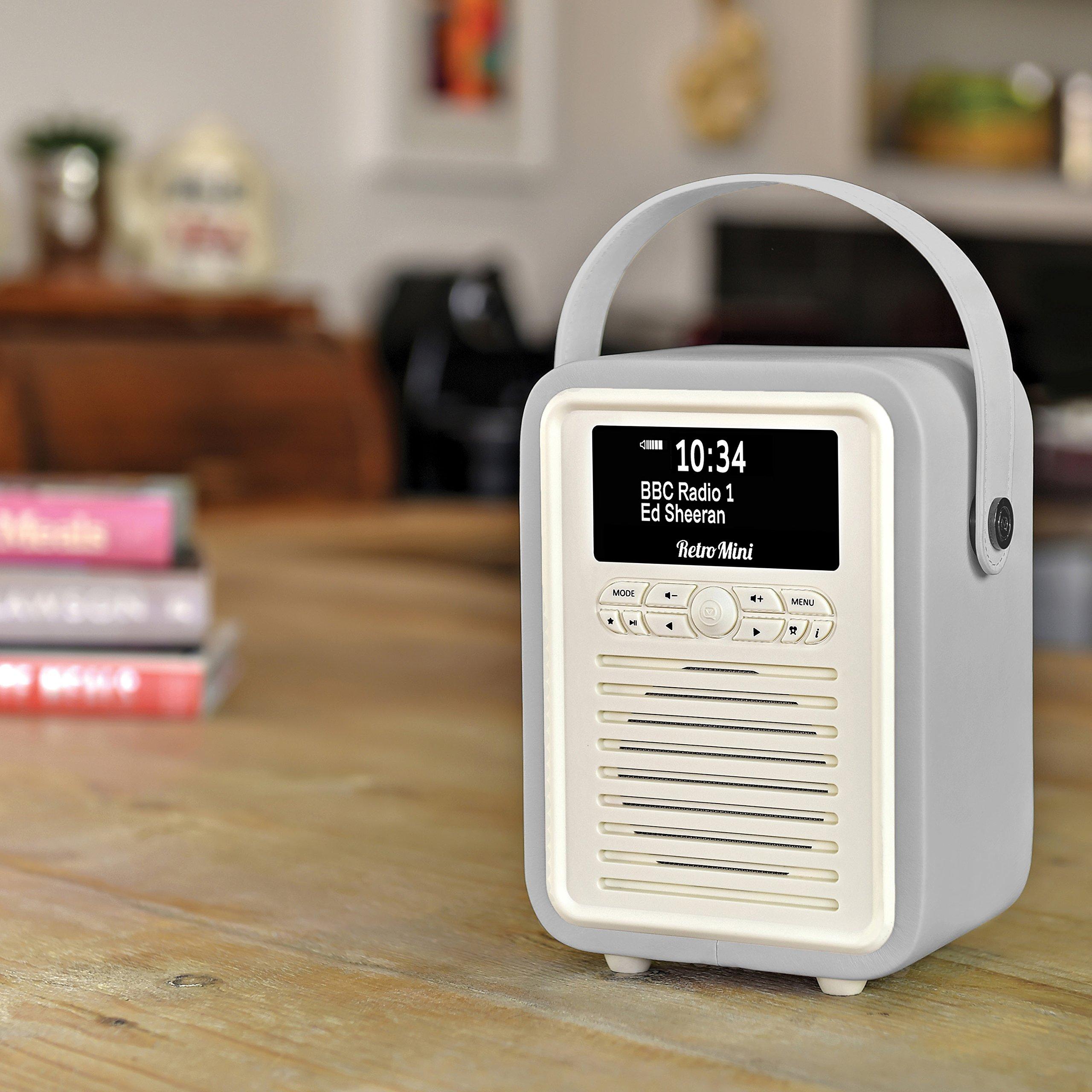 Retro Mini by VQ   Radio & Bluetooth Speaker with AM/FM & HD Radio, Dual Alarm Clock Mains or Battery – Premium PU Leather Case Light Grey by VQ (Image #2)
