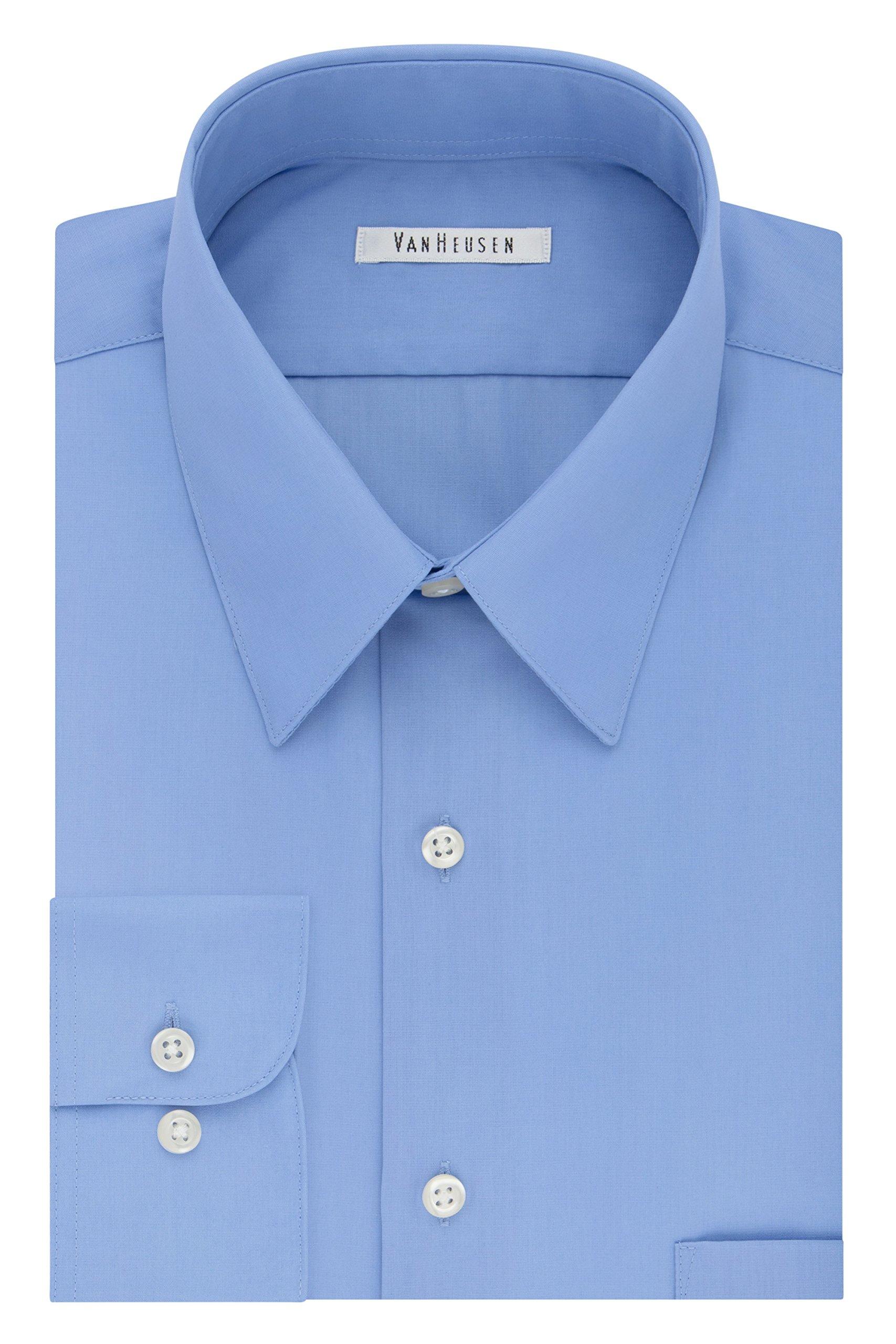 Van Heusen Men's Tall Dress Shirt Big Fit Poplin, Cameo Blue, 20'' Neck 34''-35'' Sleeve