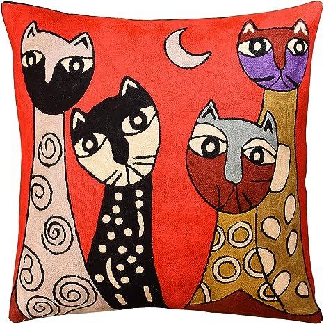 Amazon.com: Picasso Rojo Gato Cuatrillo decorativo almohada ...