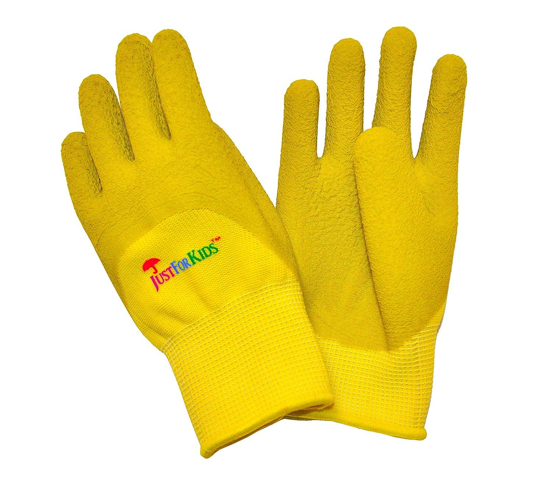 G & F 2040-2G JustForKids Premium MicroFoam Texture Coated Kids Garden Gloves, Kids Work Gloves, Yellow/Green, 1 Pair