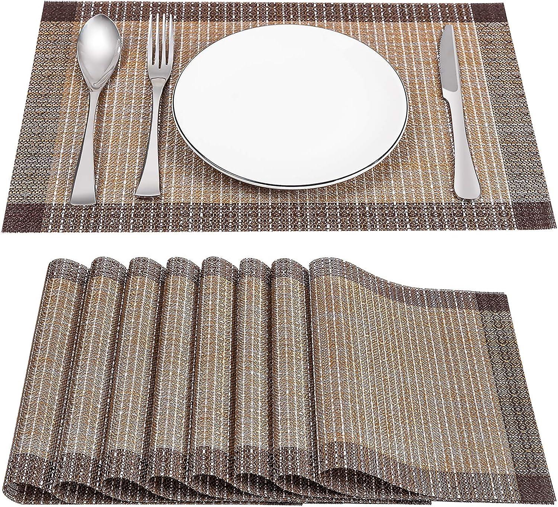 SD SENDAY Placemats, Set of 8 Heat-Resistant Stain Resistant Non-Slip Placemats for Kitchen Table, Washable Durable PVC Table Mats Woven Vinyl Placemats (8PCS, Gold)