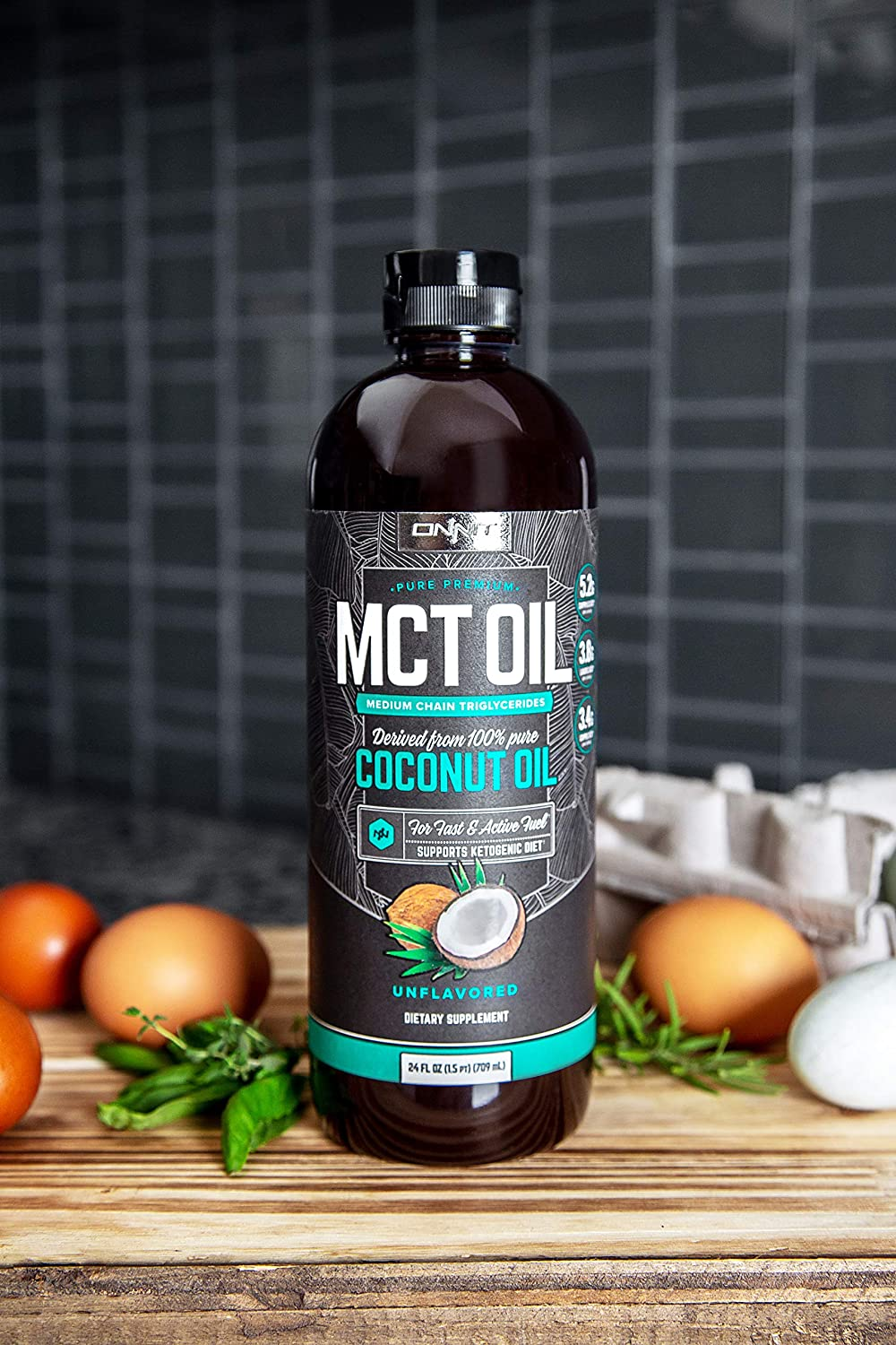 onnit MCT oil coconut oil bottle in the kitchen