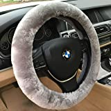 ANDALUS Car Steering Wheel Cover, Fluffy Pure Australia Sheepskin Wool, Universal 15 inch (Gray)