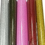 5-sheets 25,4x 25,4cm Ultra Glitter permanente HTV calore trasferimento vinile adesivo Backed colori assortiti oro argento rosso rosa nero-oro Craft progetti Assorted Colours