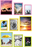 Solid Pastel Colored Green, Pink, Yellow Picture Frames | (4X6 (3pc) 5X7 (3 pc) 8X10 (3pc) Photo Display with Photo Glass Front, Easel Back, Hanging Clip | 9 PIECE SET