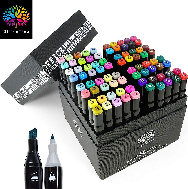 Moritz & Moritz Set con 80 Marcadores de Fibra Touch Twin Marker - Colores Suaves e Intensos - para Diseño, Bocetos, Ilustraciones, Dibujo