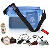 Waterproof Waist Pouch by Hydro Gizmos -Large Travel Bag with Adjustable Long Waist Strap& Buckle, Transparent Blue 3-Zipper Design – Lightweight PVC, Touch-Screen Sensitive - Keeps Everything Dry