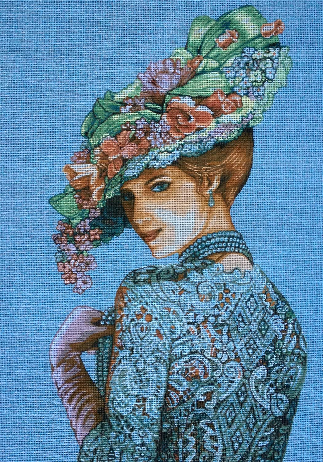 35x50cm. Printed Canvas 507 Hudemas Needlepoint Kit Lady 13.8X19.7