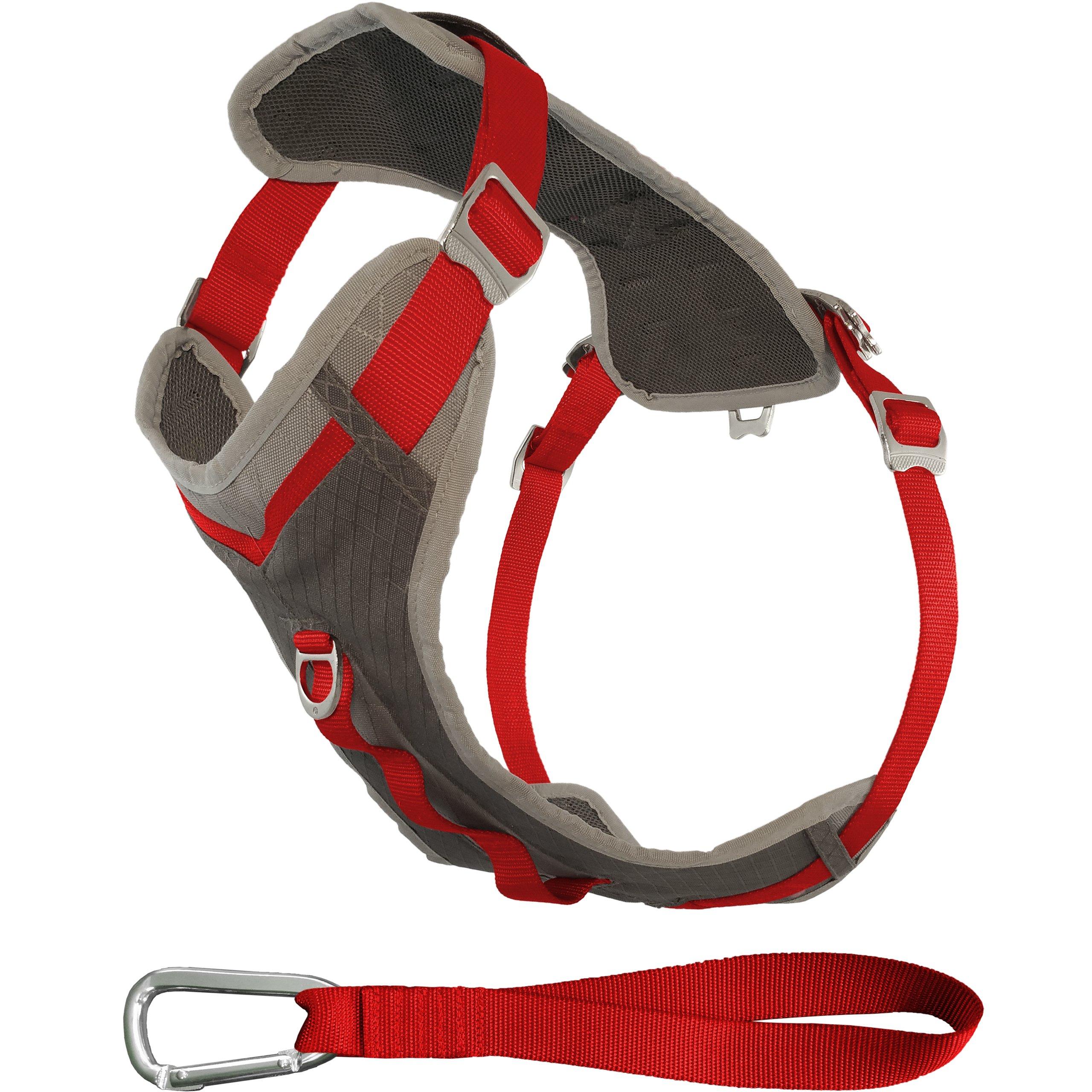 Kurgo Journey Multi-Use Dog Harness, Reflective Harness, Dog Running Harness, Dog Walking Harness, Dog Hiking Harness, Red/Grey, X-Large