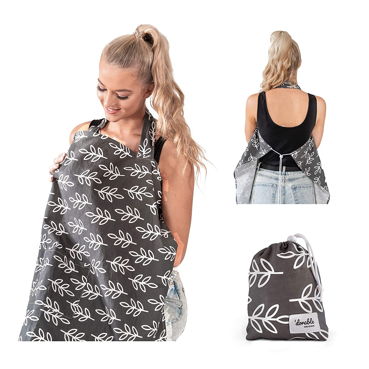 Dark UHINOOS Nursing Cover,Infinity Soft Breastfeeding Cotton for Babies with No See Through Cotton for Mother Nursing Apron for Breastfeeding