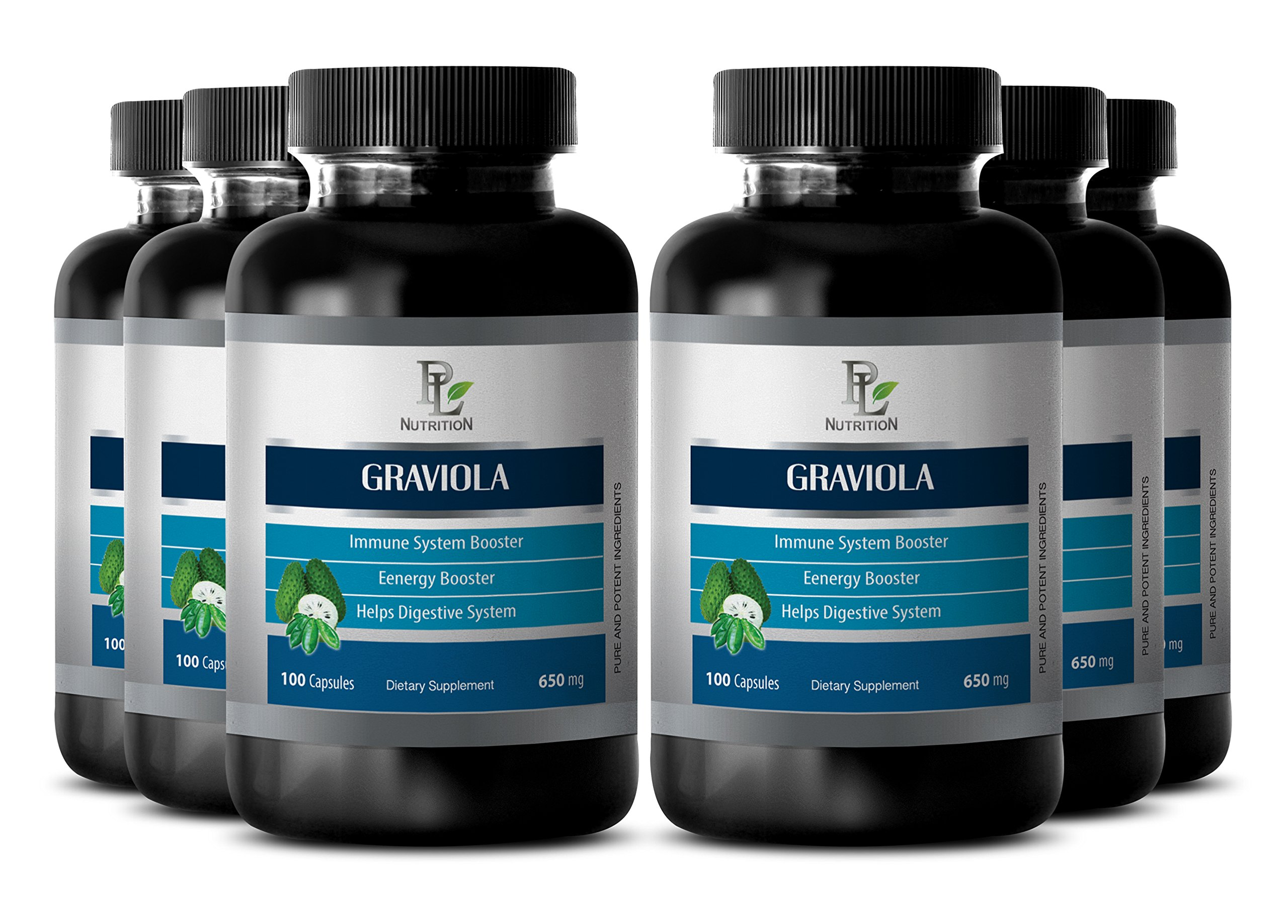 Graviola caps - GRAVIOLA EXTRACT 650 Mg - Kidney health supplements - 6 Bottles 600 Capsules