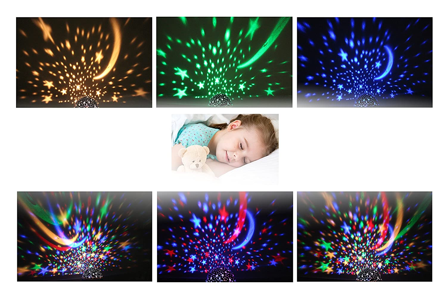 Lovely Automatic Rotating Projector Starry Sky 3d Table Lamp Novetly Snow Fireworks Star Projection Bedside Lamp Childrens Night Light Led Lamps