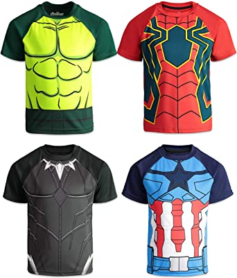 59cab8c6 Amazon.com: Marvel Avengers Boys 4 Pack T-Shirts Black Panther Hulk  Spiderman Captain America: Clothing