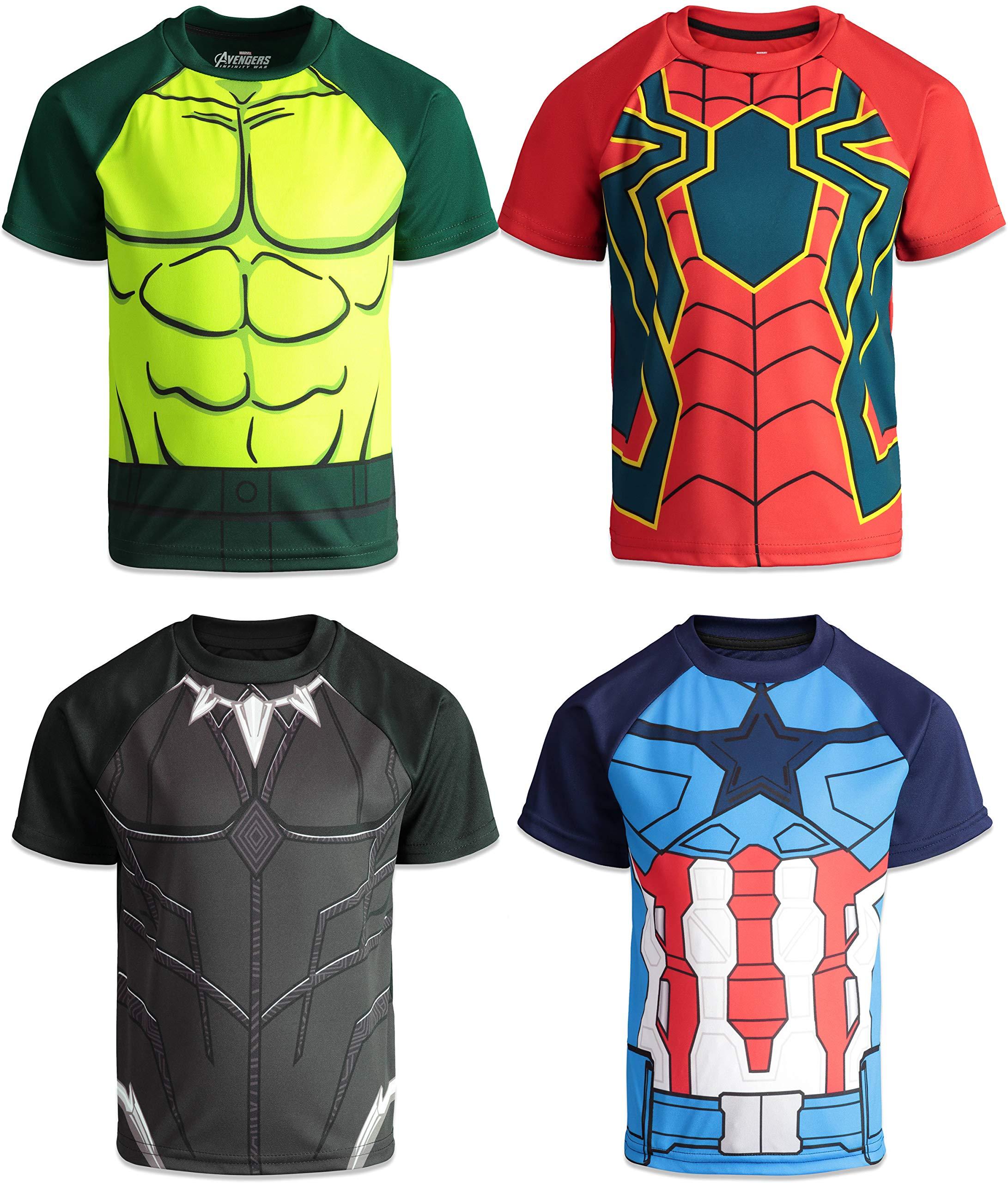 Marvel Avengers Boys 4 Pack T-Shirts Black Panther Hulk Spiderman Captain America 6