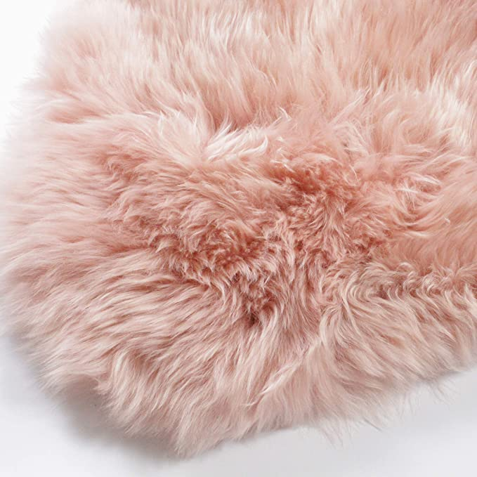 Amazon Com Outlavish Sheepskin Rug Soft Genuine Natural Merino 2 X 6ft Pearl Blush Light Pink Kitchen Dining