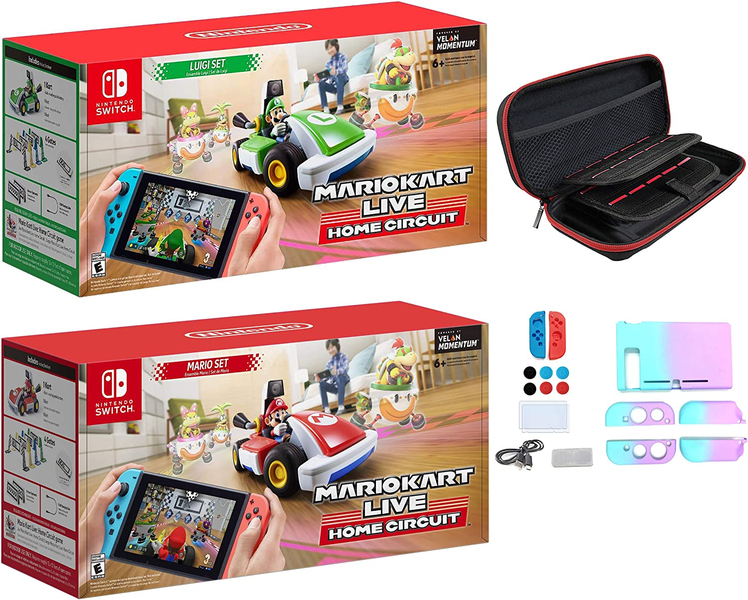 Nintendo 2020 Newest - Mario Kart Live: Home Circuit - Mario Set and Luigi Set Edition - Family Christmas Holiday Gaming for Switch or Switch Lite - iPuzzle 12-in-1 Carrying Case for Nintendo Switch