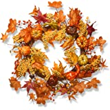 National Tree 24 Inch Woven Wreath with Maple Leaves and Pumpkins (RAHV-W060202A)