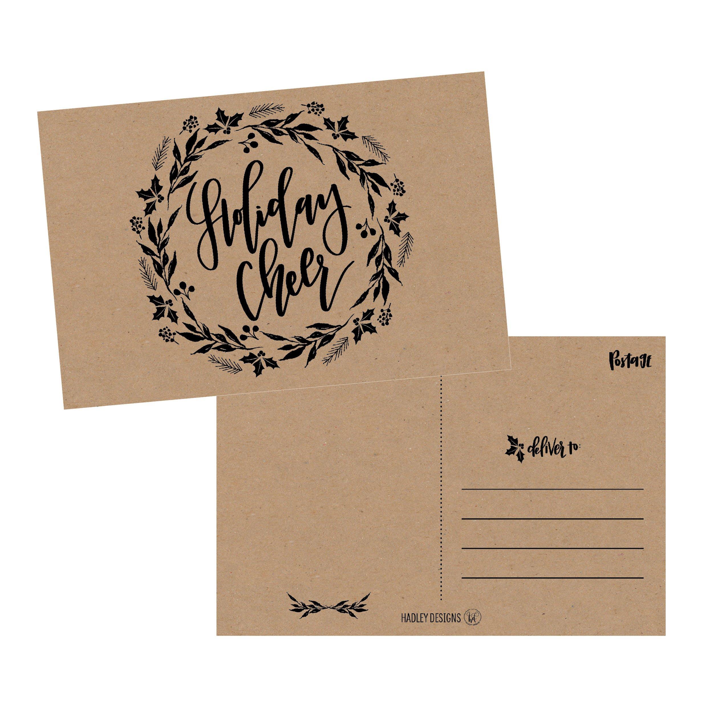 Amazon 50 Kraft Wreath Holiday Greeting Cards Cute Fancy