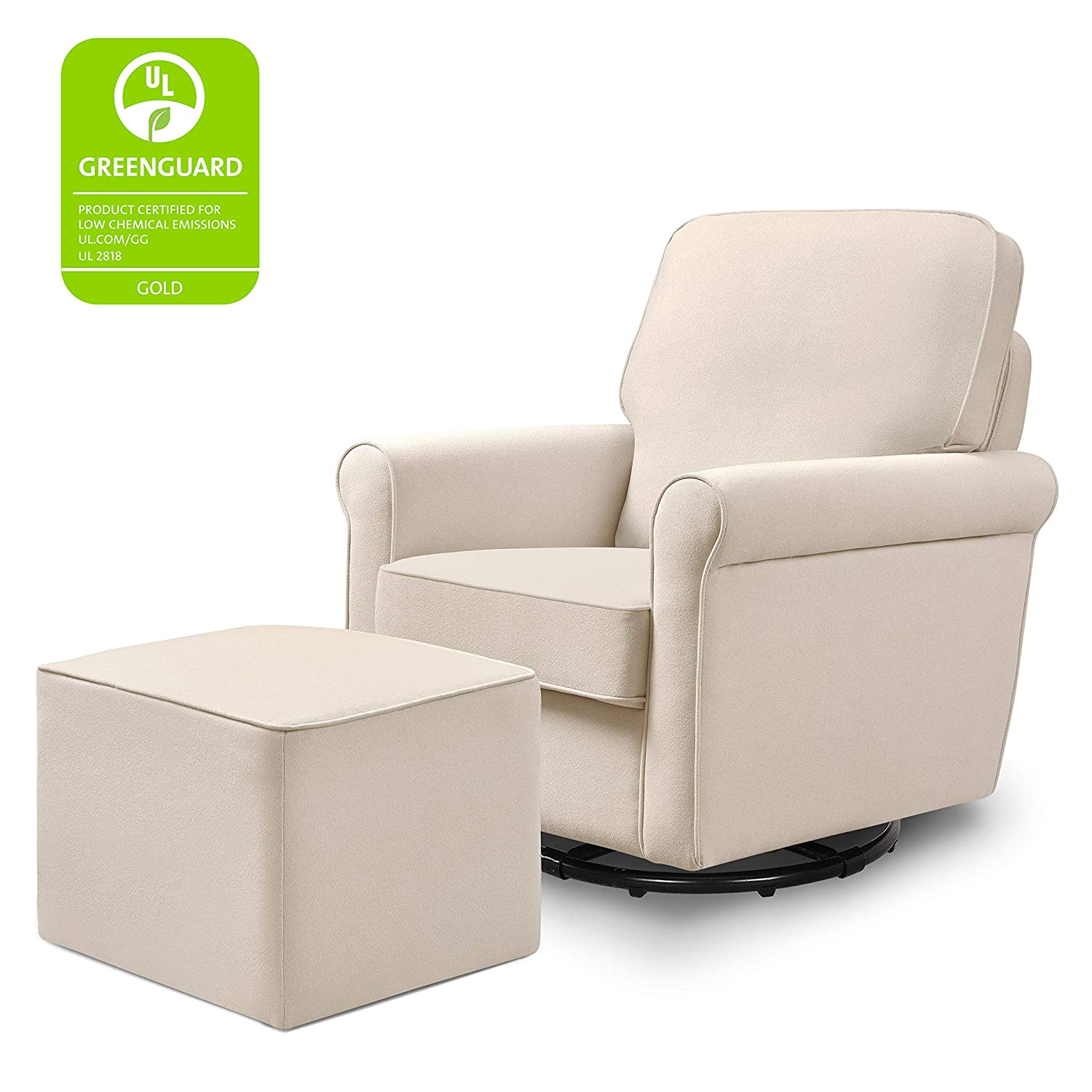DaVinci Maya Upholstered Swivel Glider and Ottoman, Cream
