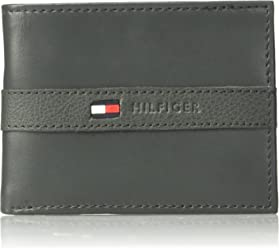Tommy Hilfiger Mens Thin Sleek Casual Bifold Wallet with 6 Credit Card Pockets and Removable Id