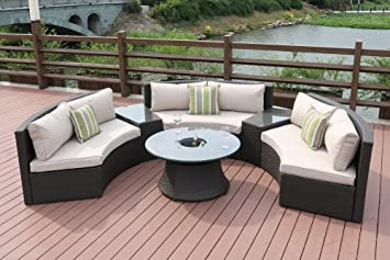 Amazon.com : Direct Wicker Half Moon 6-piece Outdoor Curved ...