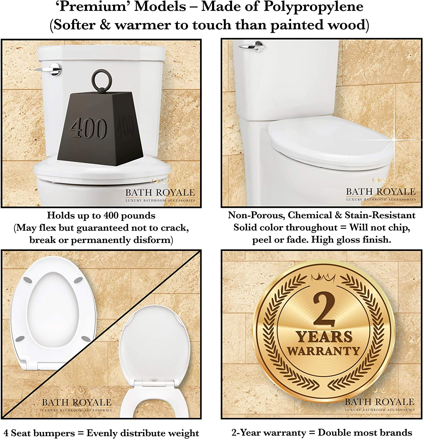 Bath Royale Premium Round Toilet Seat W Cover Slow Close Quick Clean High Gloss Polypropylene Lasts Longer More Comfortable And Sanitary Than Wood Seats Fits All Brands Including Kohler American Standard And