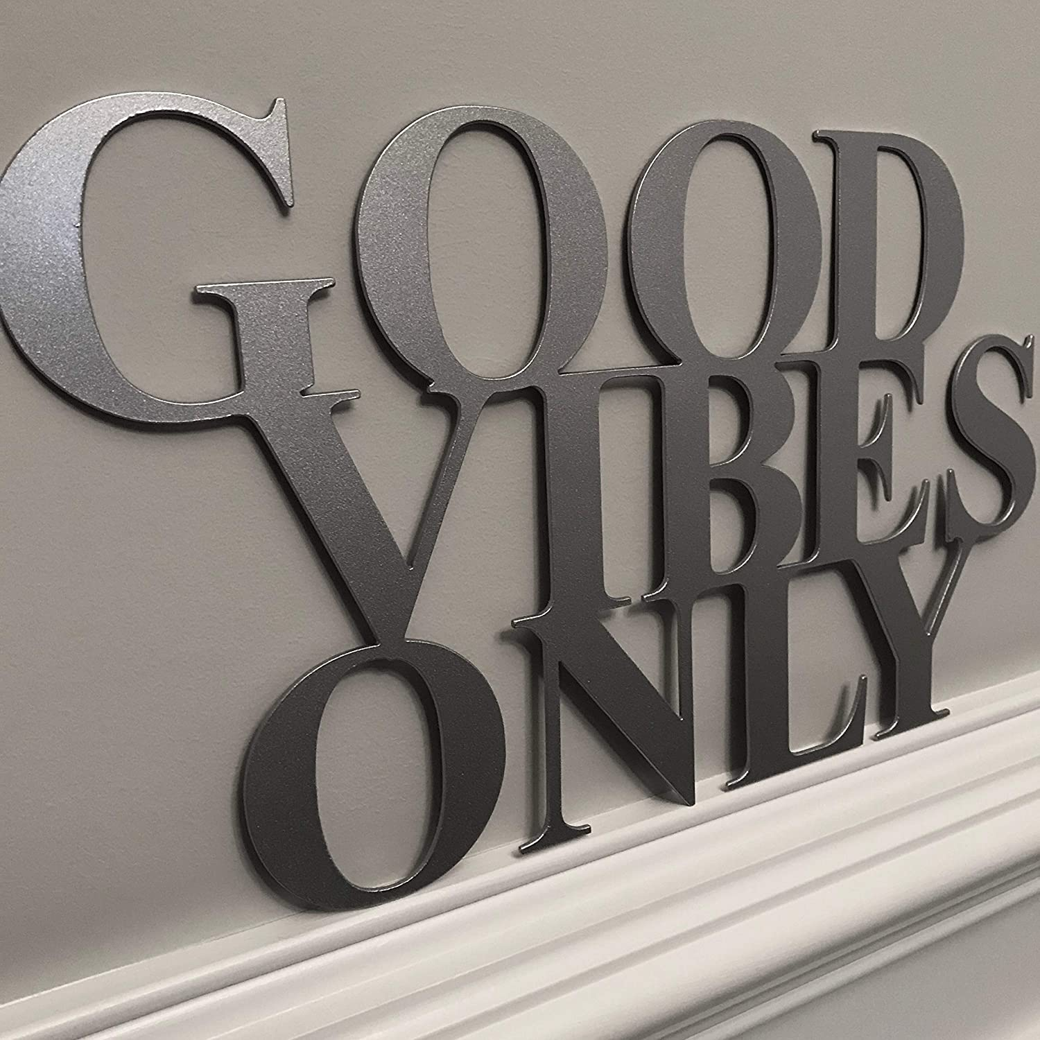 Epic Designs Metal Good Vibes only Second Design Plasma Cut Sign Script for Door Wall Bathroom Decoration (Black)