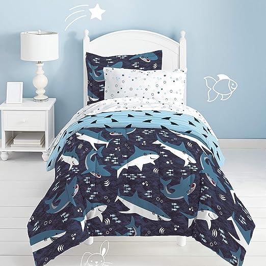 dream FACTORY Sharks Ultra Soft Microfiber Comforter Set Twin Blue