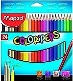 Maped - estuche de 24 lapices de colores triangulares colorpeps. mina blanda y resistente.