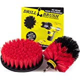 Drillbrush 2 Piece Drill Brush Red Stiff Bristle Rotary Cleaning Drill Bit Attachment Brushes for Cleaning Siding, Brick, Stone, Fireplaces, Decks, Gutters, and More Stiff-red