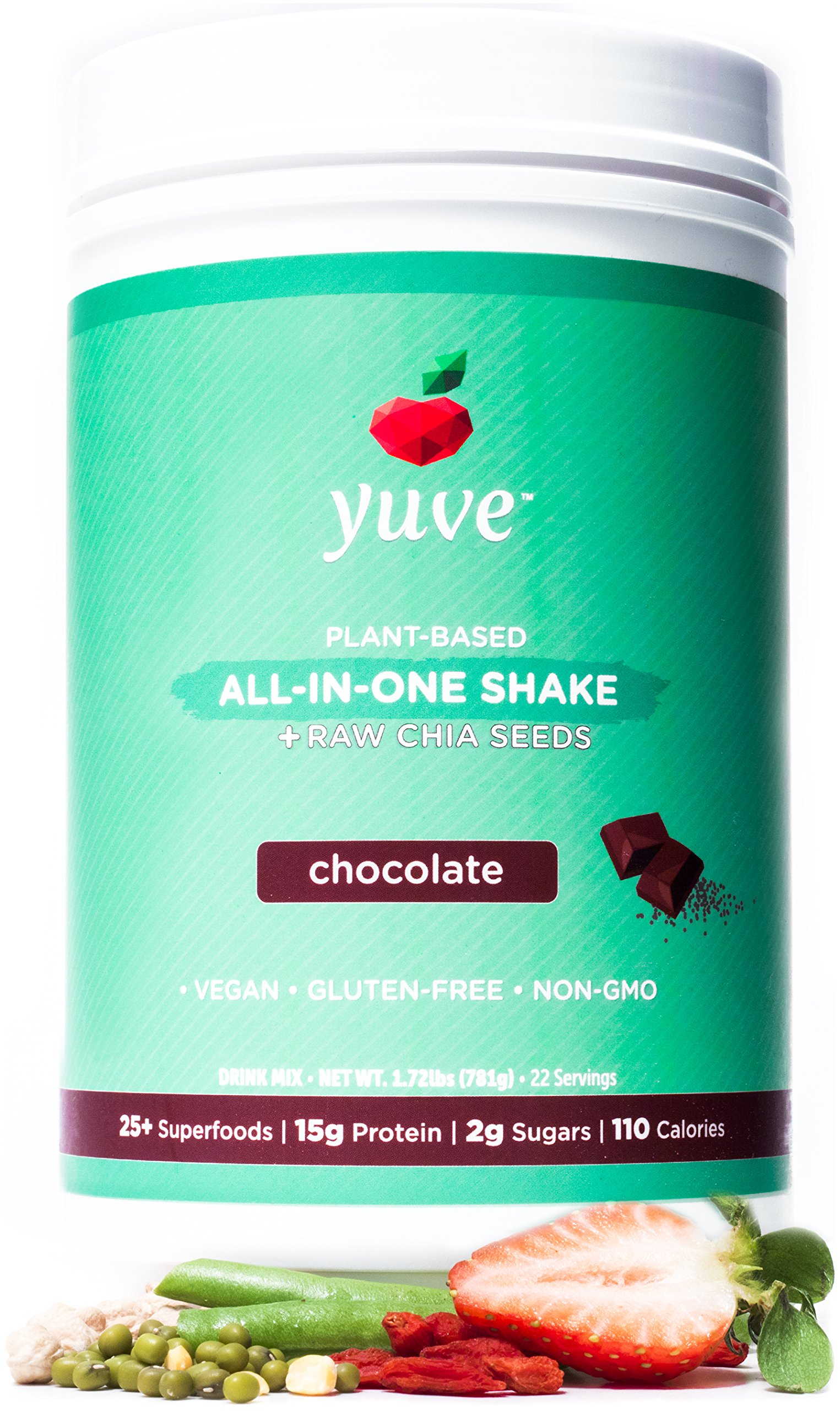 Yuve Vegan Protein Powder with Superfoods - Award Winning Taste - Complete Nutritional Shake - Natural Greens, Plant Based, Non-GMO, Gluten, Dairy, Soy and Lactose Free - Large Tub (Chocolate) by Yuve