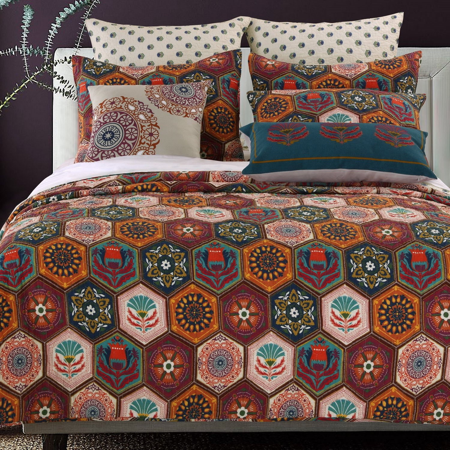 Boho Moroccan Quilt Set with Shams Geometric Pattern Medallion Mandala Earth Tones Orange Brown 100 Cotton Luxury Reversible 2 Piece Twin Size Print Bedding - Includes Bed Sheet Straps by Finely Stitched (Image #1)