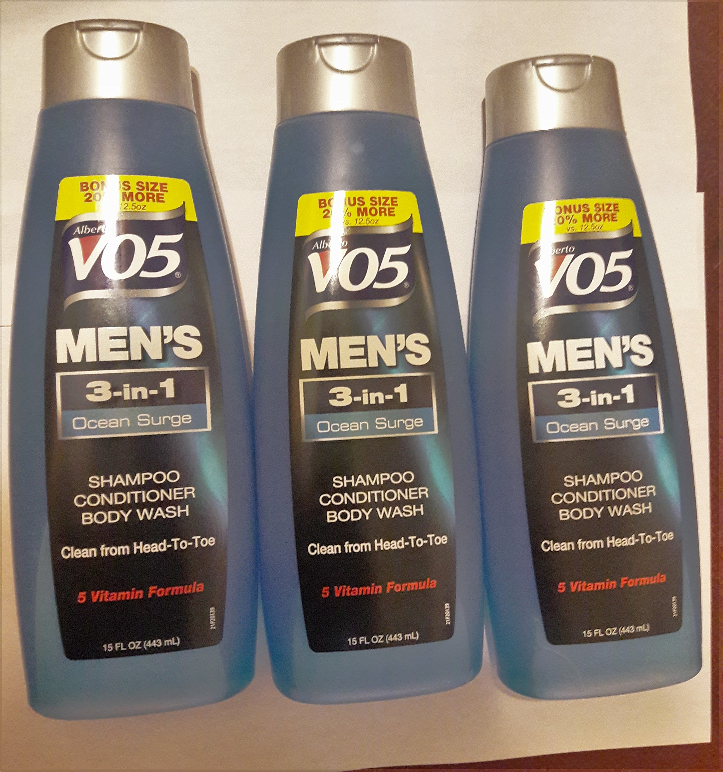 3 Pk, Alberto VO5 Men's 3-in-1 Shampoo Conditioner Body Wash , Ocean Surge 15 fl. oz. by Unknown