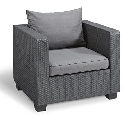Keter Salta All Weather Outdoor Patio Furniture Armchair with Sunbrella  Cushions in a Resin Plastic Wicker - Amazon.com: Keter Salta All Weather Outdoor Patio Furniture Armchair
