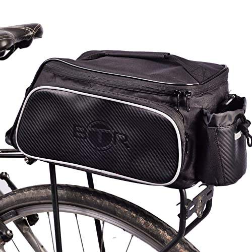 BTR Sacoche de vélo, idéale pour Les Porte-Bagages. Résistante à l'eau. Noire.