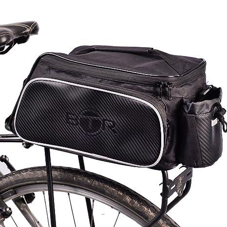 BTR Bolsa para Bici diseñada para el portaequipajes Trasero de la Bicicleta. Impermeable. Negra. Capacidad de 10 litros. Soporte para acoplar de Forma ...
