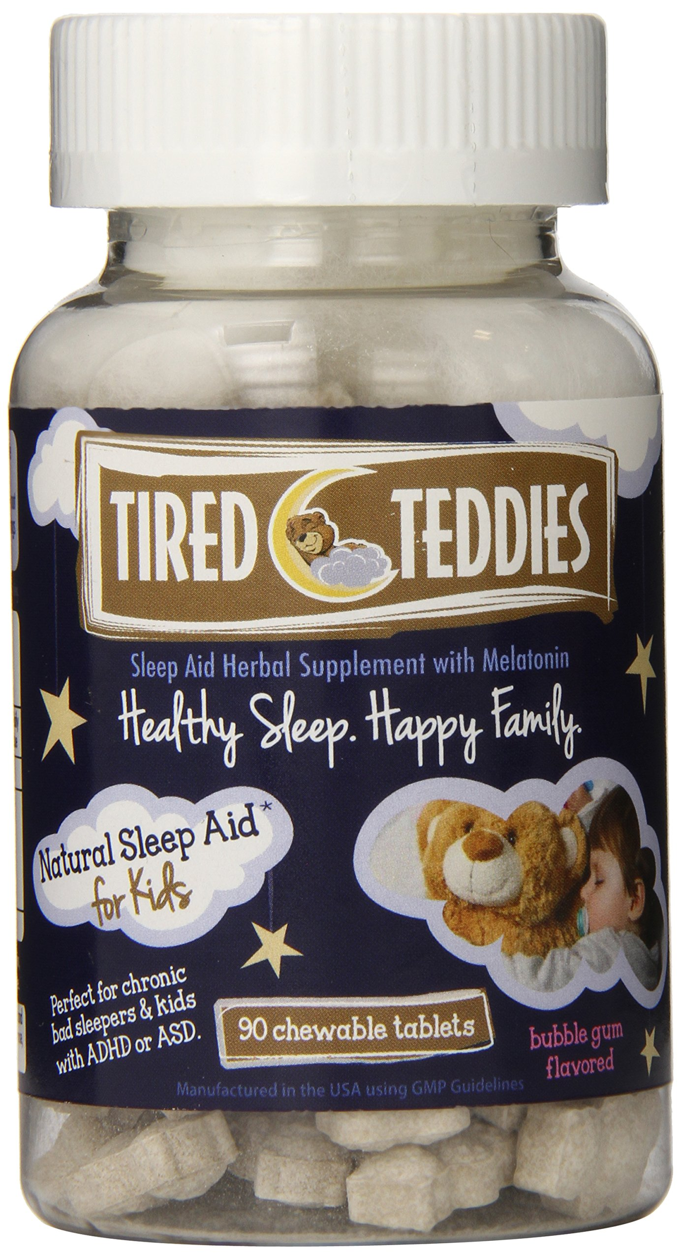 Tired Teddies Natural Sleep Aid for Kids -- 90 Tablets; Low Dose Melatonin for Kids