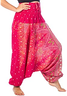 ef1cd5563157 iYBUIA Women Casual Peacock Print Summer Loose Yoga Trousers Baggy Boho  Aladdin Jumpsuit Harem Pants Free ...