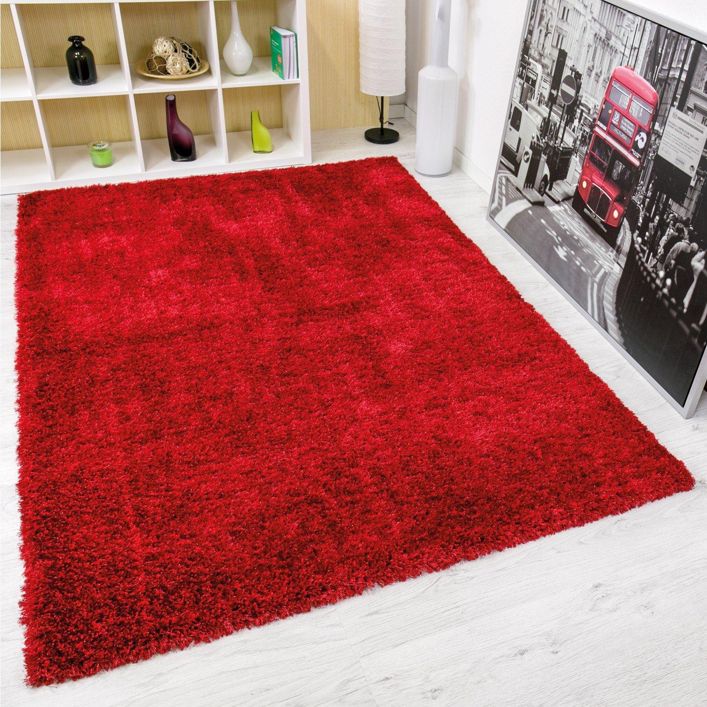 Vimoda maxi1000 Maxi Tappeto a Pelo Lungo, Moderno, in Poliestere con Glitter, Rot, 160 x 230 cm maxi1000_rot_1-2