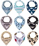 """Baby bandana drool bibs, 9-Pack for Boys and Girls, unisex, """"Little Mustache n glasses"""" Baby Shower set, 100% Organic Cotton, Soft and Absorbent, Stylish design, For Drooling and Teething by Gift it!"""