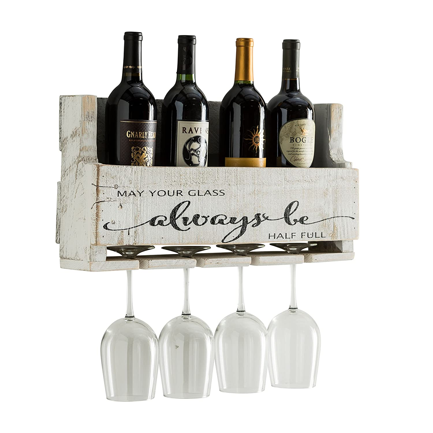 del Hutson Designs The Little Elm Wine Rack w/Quote 'May Your Glass Alway Be Half Full, USA Handmade Reclaimed Wood, Wall Mounted, 4 Bottle 4 Long Stem Glass Holder (Walnut)