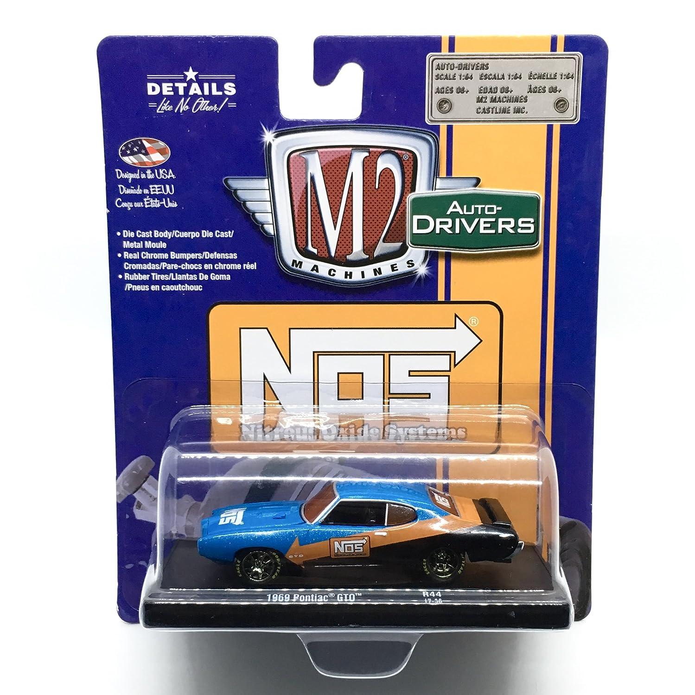 M2 Machines 1969 Pontiac GTO (NOS Nitrous Oxide Systems) Blue/with Orange & Black Auto-Drivers Release 44 - Castline 2017 Special Edition 1:64 Scale ...