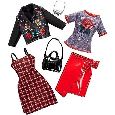 Barbie Fashionistas Kit vêtements, 2 tenues pour poupée, dont robe, jupe, t-shirt, veste et accessoires, jouet pour enfant, FKT28: Toys & Games